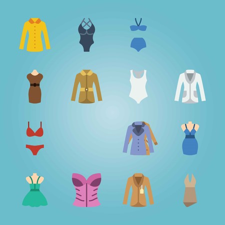 Icon set of women's clothes.