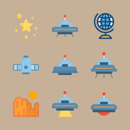 icon set about universe with craft, stars and ufo