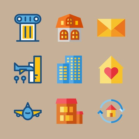 icon set about travel with home, column and aeroplane 免版税图像 - 95588226
