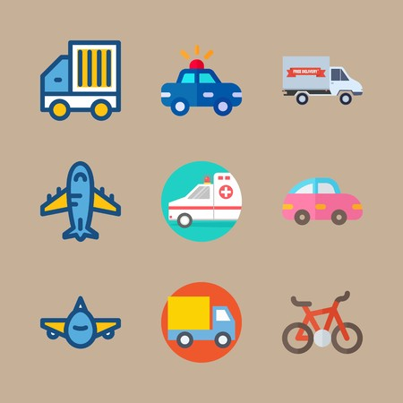 Icon set about transport with ambulance, car and front side