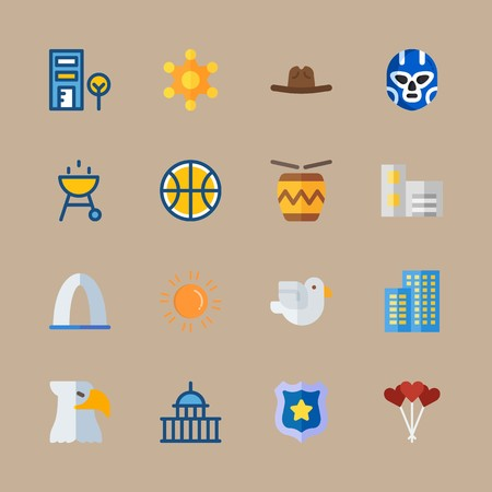 icon set about united states with eagle, capitol and barbecue Vettoriali