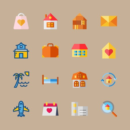 icon set about travel with letter, house and aeroplane