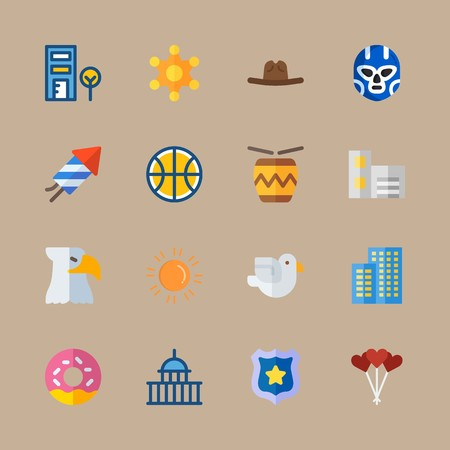 icon set about united states with building, fireworks and eagle 免版税图像 - 95587983