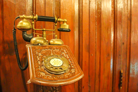 ancient telephone: Old Telephone Stock Photo