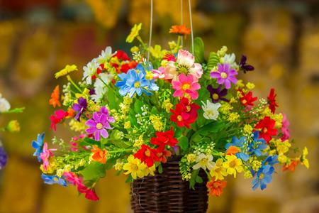 fake: Beautiful colorful fake flower. Stock Photo