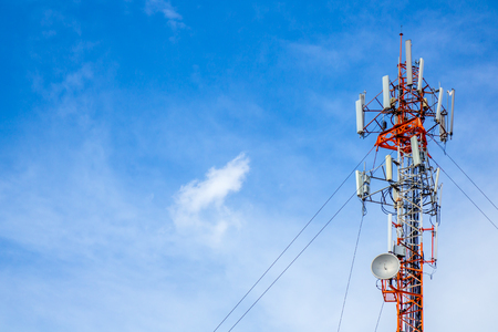 electrical equipment: Telecommunication tower with the blue sky.