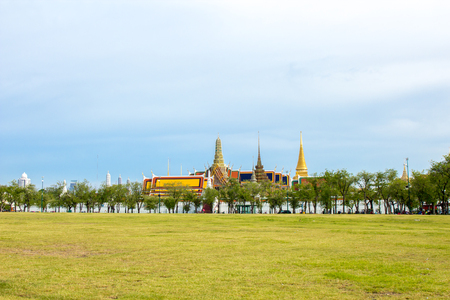 grand pa: Temple of the Emerald Buddha or Wat Phra Kaew in Bangkok, Thailand. Stock Photo