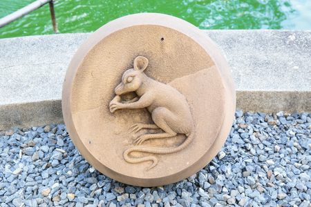 year of rat: The Year of Rat, Chinese Zodiac Cement Craft at the public park of Thailand. Stock Photo