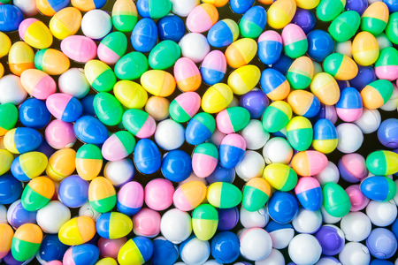 gamble: Colorful of lucky balls or eggs floated in water for gamble.