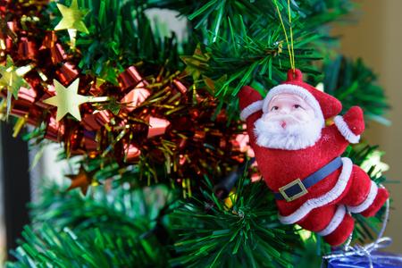 santaclaus: Beautiful decorated Christmas tree with Santaclaus. Stock Photo