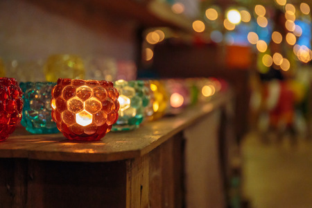 scented: Colorful scented candles with beautiful lighting and bokeh.