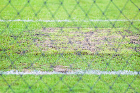 goal keeper: ground of goal keeper of football. Stock Photo