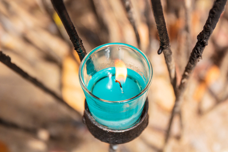 scented: Beautiful colorful scented candles in glass.