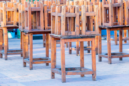 carpenter's bench: Wooden table and chair at the market in Bangkok, Thailand.