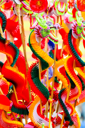 goodluck: Colorful Chinese dragon plastic and paper toy for Chinese new year happy and goodluck.