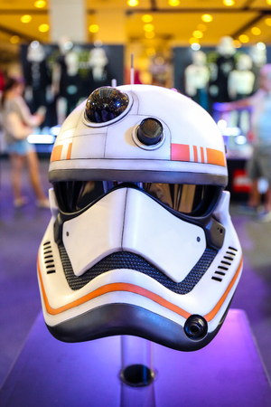 starwars: Bangkok, Thailand - 19 December 2015 : Fancy Helmet of Stormtroopers in Starwars 7 : The force awakens at Central world, Bangkok, Thailand. Editorial