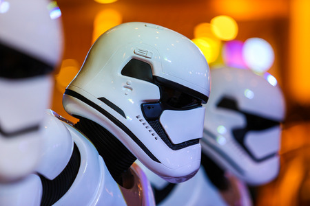 starwars: Bangkok, Thailand - 19 December 2015 : Stormtroopers in Starwars 7 : The force awakens at Central world, Bangkok, Thailand.