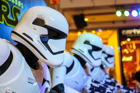 solider: Bangkok, Thailand - 19 December 2015 : Stormtroopers in Starwars 7 : The force awakens at Central world, Bangkok, Thailand.