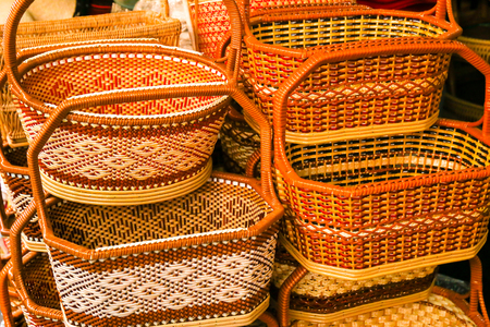 Local colorful weave basket in Thailand.