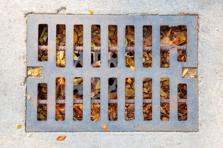 aqueduct: Top view of drain or aqueduct on the road. Stock Photo