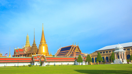 Temple of the Emerald Buddha or Wat Phra Kaew in Bangkok, Thailand. Stock Photo