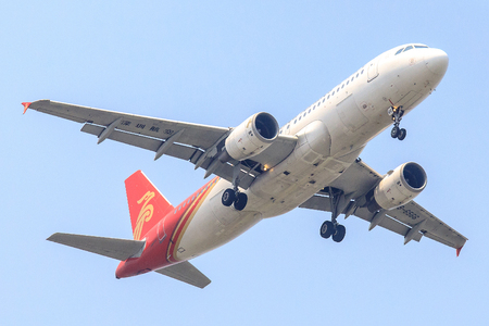 Bangkok, Thailand. - April 22, 2017 : Plane of Shenzhen Airlines on the sky landing to Suvanabhumi airport. Editorial