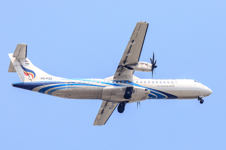 Bangkok, Thailand. - April 22, 2017 : Propeller aircraft or Plane of Bangkok Airways on the sky landing to Suvanabhumi airport. Editorial