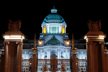 Bangkok, Thailand - 23 January 2017 : Front view of The The Anantasamakhom Throne Hall with dark or black sky night background, Bangkok, Thailand.