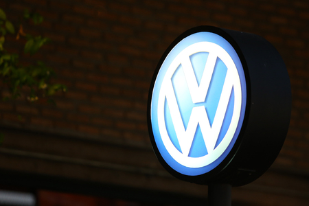 manufacturer: Bangkok, Thailand - 23 January 2016 : Volkswagen Sign at night background.