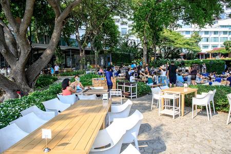 Pattaya, Chonburi, Thailand - May 6, 2017 : The terrace of restaurant or coffee shop name The Sky Gallery Pattaya located near the sea beach of Pattaya, Chonburi, Thailand.