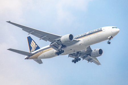 suvarnabhumi: Bangkok, Thailand. - April 23, 2017 : Aircraft or Plane of Singapore Airlines on the sky landing to Suvanabhumi airport.