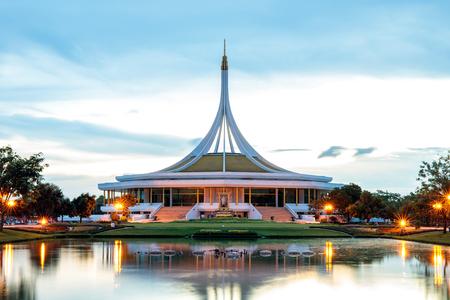 Bangkok, Thailand. - May 14, 2017 : Ratchamangkhala Pavilion at public park name Suan Luang Rama IX on sunset time Bangkok, Thailand.