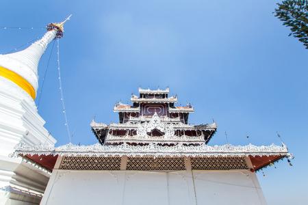 Maehongson, Thailand. - February 22, 2017 : Wat Phra That Doi Kong Mu. White temple on a mountain top at Mae Hong Son northern of Thailand Editorial