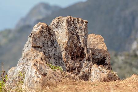big rock or stone on the mountain.