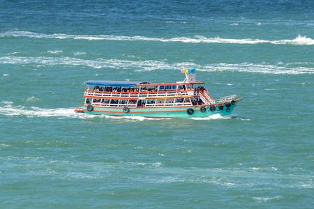 Pattaya, Chonburi Province, Thailand. - NOVEMBER 1, 2015 : Transport Boat or Speed Boat for send people or traveller to Koh Lan at sea of Pattaya beach.