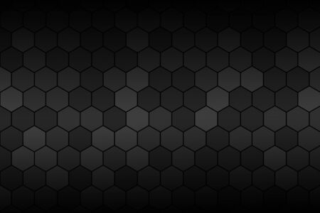 Honeycomb Grid tile random background or Hexagonal cell texture. in color black or dark or gray or grey. And vignette dark border shadow of top and bottom.