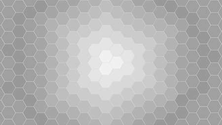 Honeycomb Grid tiled background or Hexagonal cell texture. in color black or dark with gradient from center or middle. Archivio Fotografico