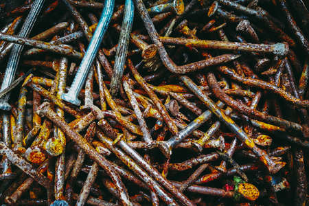 Rusty or rusted nails for background textured or backdrop.