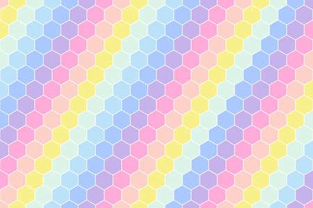 Pastel rainbow color tone of Honeycomb Grid tile random background of Multi color or colorful Hexagonal cell texture.