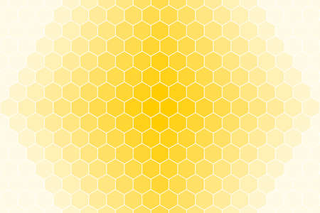 Honeycomb or honey Grid tiled for background or Hexagonal cell texture. in color yellow or gold with white border gradient.