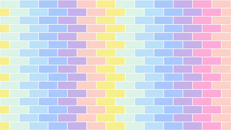 Pastel color brick wall background textured of color pink orange blue green tone.