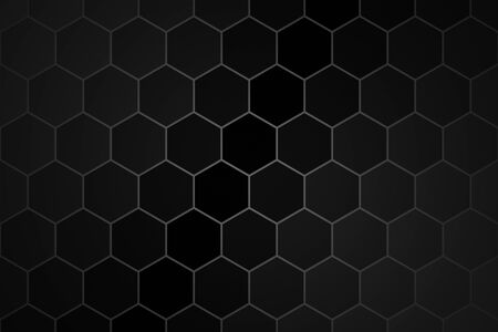 Honeycomb or Honey Grid tile random background or Hexagonal cell texture. color black dark or gray or grey with difference border space. And vignette dark sky blue border shadow.