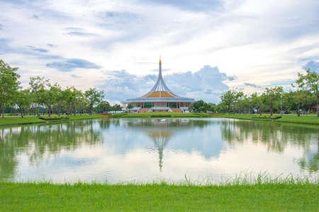 Bangkok, Thailand. - June 16, 2018 : Ratchamangkhala Pavilion at public park name Suan Luang Rama IX on sunset time Bangkok, Thailand.
