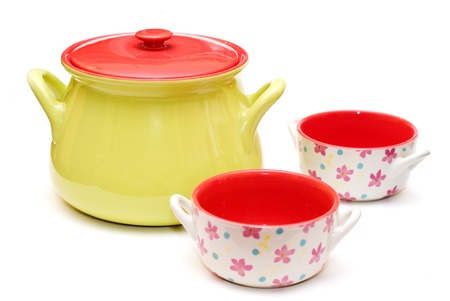 slurp: modern colourfull soup tureen and soup cups Stock Photo