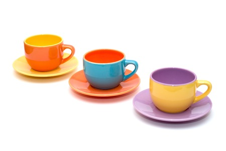 colourfull coffee cups isolated on white background
