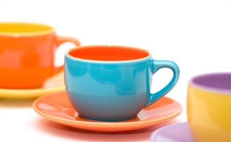 slurp: colourfull tazas de caf� aislados sobre fondo blanco Foto de archivo