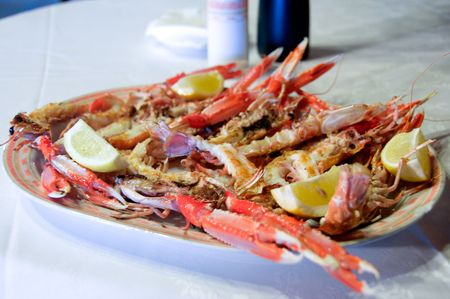 grilled crayfish over a tray ready to lunch photo