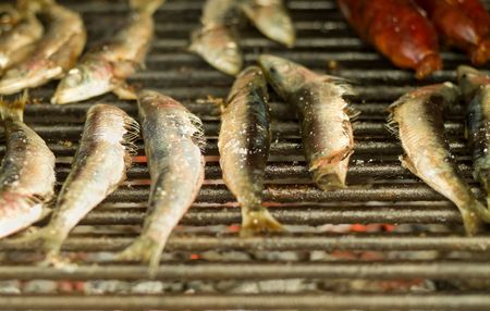 grilled sardines and meat over roasted barbecue grill