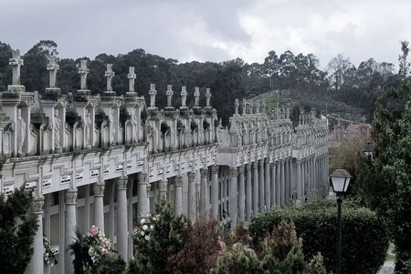 graveyard and graves in a rainy day