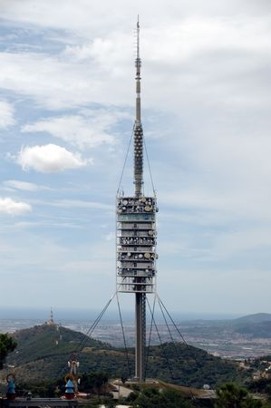 Barcelona commnunications tower with mobile and television antennas  Stock Photo